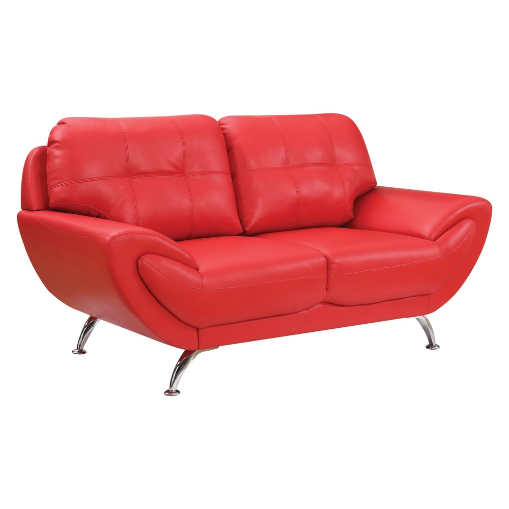 Iohomes Dechant Contemporary Tufted Leatherette Love Seat Red - Homes: Inside + Out