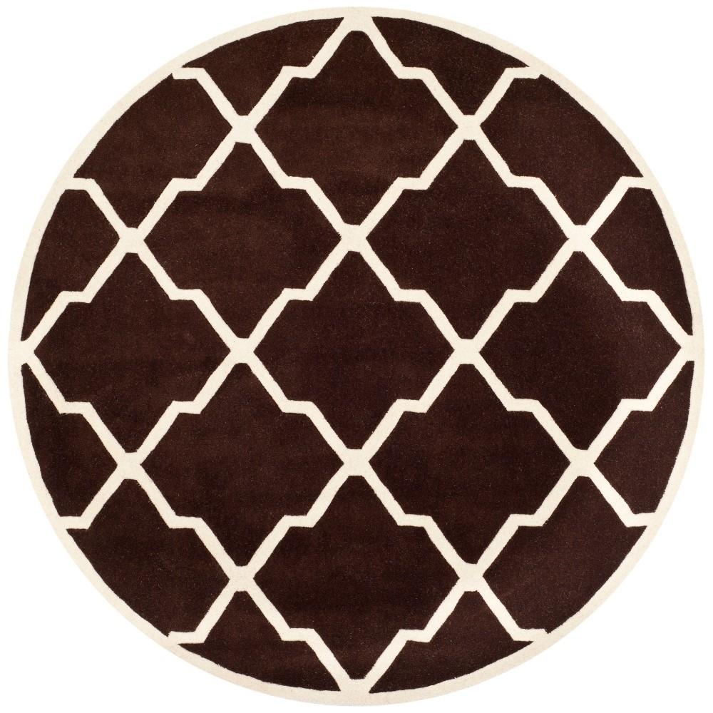 7' Quatrefoil Design Tufted Round Area Rug Dark Brown/Ivory - Safavieh