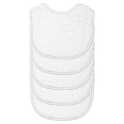 green sprouts® Organic Cotton Muslin Bibs 5 pack - White