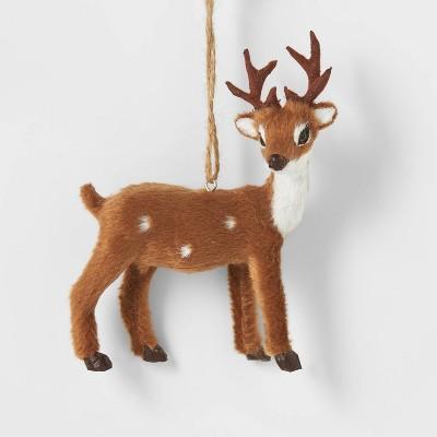 Faux Fur Forest Animal Christmas Tree Ornament Side Profile Buck - Wondershop™