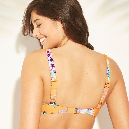 8fad83882d Women s Bralette Bikini Top - Sunn Lab Swim Yellow Floral XS   Target