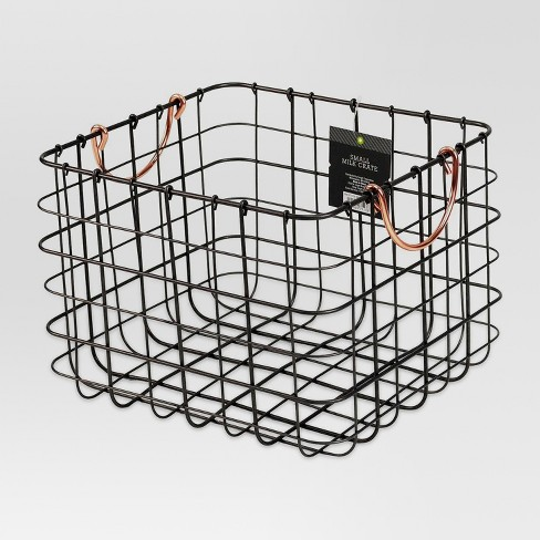 Small Milk Crate Wire Basket - Antique Pewter with Copper Colored Handles - Threshold™ - image 1 of 6