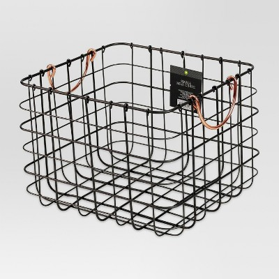 Small Milk Crate Wire Basket   Antique Pewter With Copper Colored Handles    Threshold™