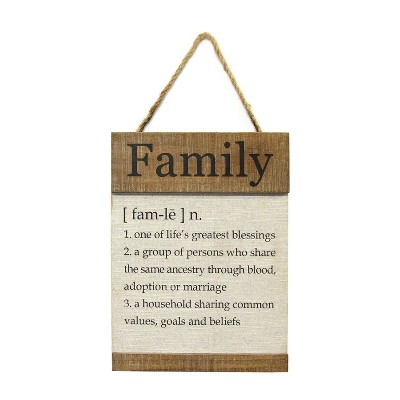 "11.81"" x 15.75"" Family Definition Wall Décor Natural/White - Stratton Home Décor"