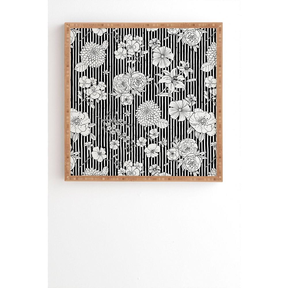 20 34 X 20 34 Ninola Design Flowers And Striped Framed Wall Art Deny Designs