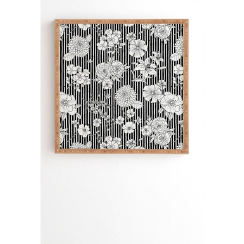 """12"""" x 12"""" Ninola Design Flowers and Striped Framed Wall Art - Deny Designs - image 1 of 1"""