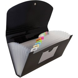 "JAM Paper 5"" x 10 1/2"" 13 Pocket Plastic Expanding File Folder - Check Size"