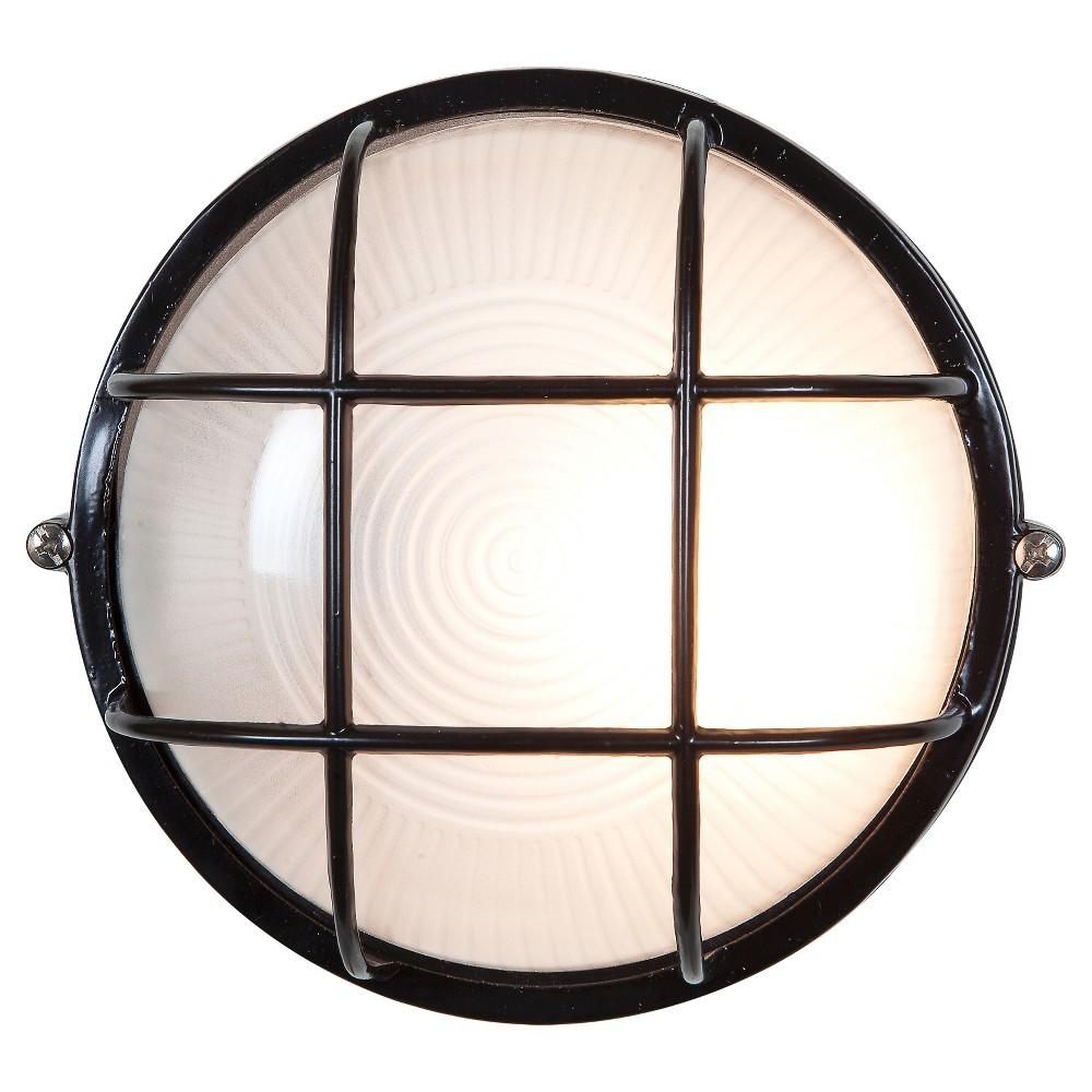 Nauticus Fluorescent Outdoor Bulkhead with Frosted Glass Shade - Black (10)