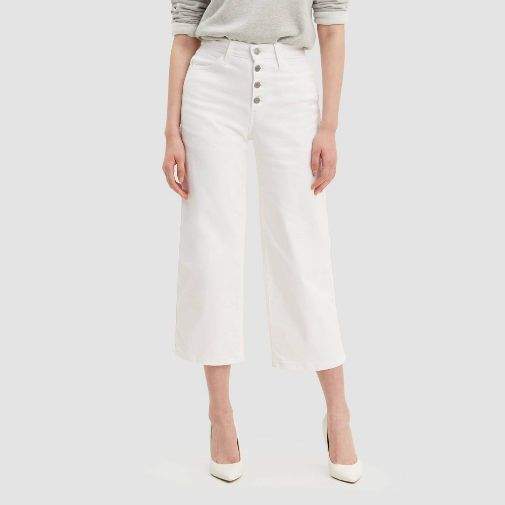 Image of Levi's Women's Mile High Wide Leg Cropped Jeans - Twill Birch 24, Women's, Twill Brown