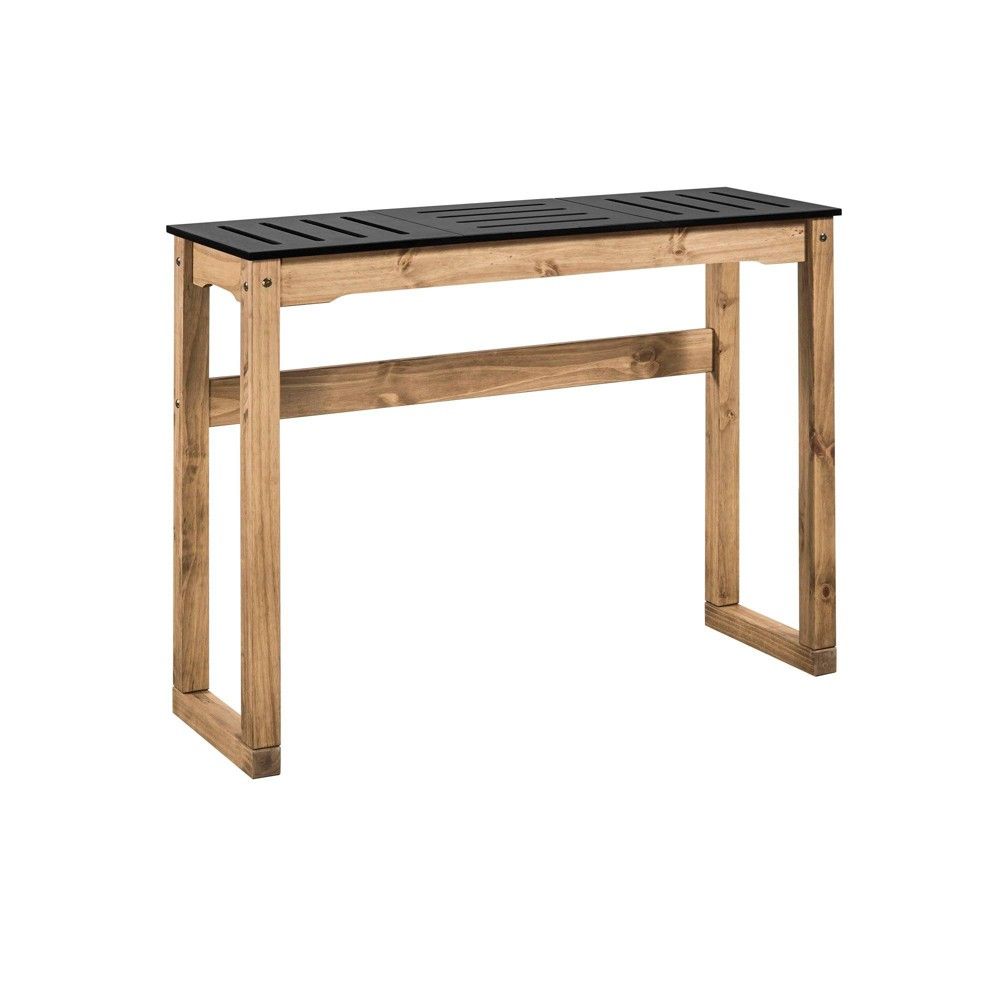 47.3 Mid Century Modern Stillwell Natural Wood Bar Table Black - Manhattan Comfort