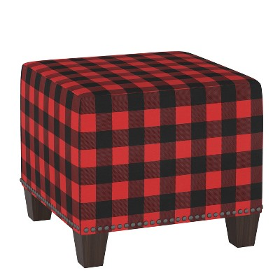 Square Nail Button Ottoman Classic Gingham Red Black - Skyline Furniture