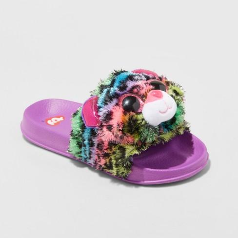 Girls  Dotty Beanie BoosPool Slided Slippers - Purple L   Target c042b1fc8