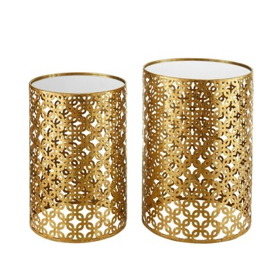Set of Two Round Nested Tables with Mirror Top Gold - Linon