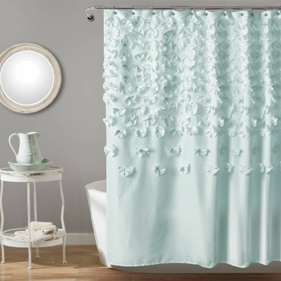Lucia Scattered Flower Textured Shower Curtain Blue - Lush Décor