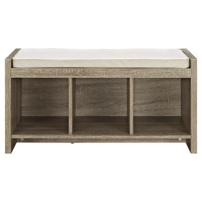 Hendland Entryway Storage Bench with Cushion Distressed Gray Oak - Room & Joy