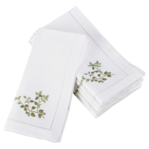 """6pk White Embroidered Oregano Design Napkin 20"""" - Saro Lifestyle - image 1 of 1"""