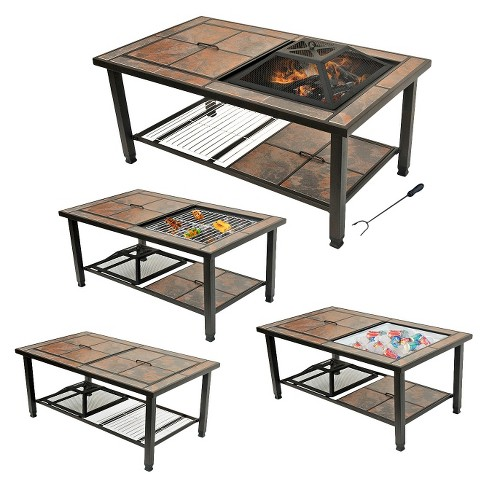 Leisurelife 25 4 In 1 Rectangular Coffee Table Woodburning Fire
