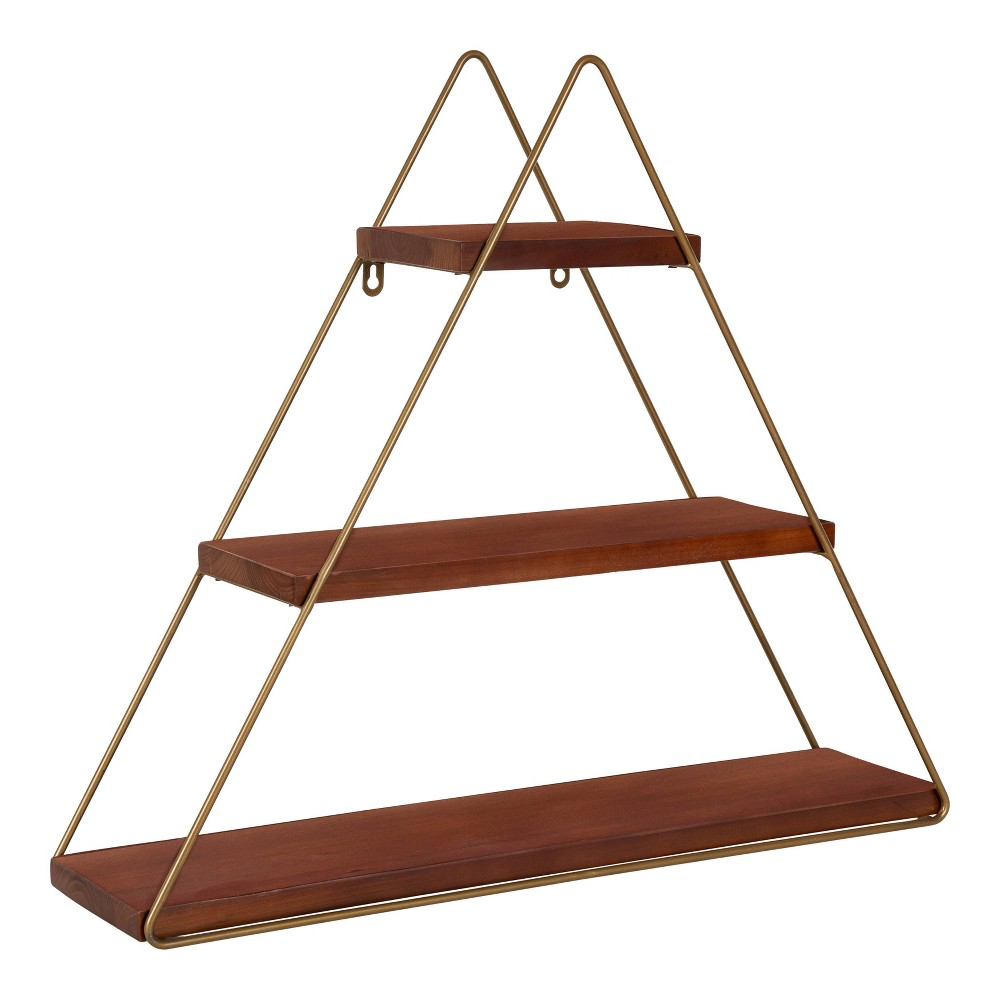 """Image of """"24.2"""""""" x 21"""""""" Tilde Three-Tier Triangle Wood and Metal Wall Shelf Brown/Gold - Kate & Laurel All Things Decor"""""""