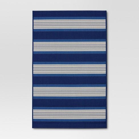 Bold Stripe Outdoor Rug Blue - Threshold™ - image 1 of 4