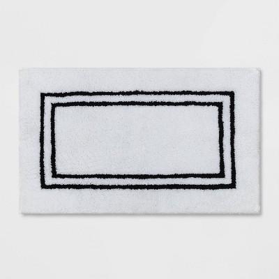 "21""x34"" Border Bath Rug Black Stripe - Threshold Signature™"