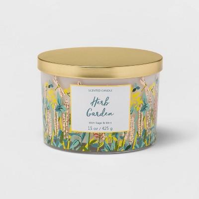 15oz Lidded Glass Jar Front Label Garden Print 3-Wick Wild Flowers Candle - Opalhouse™