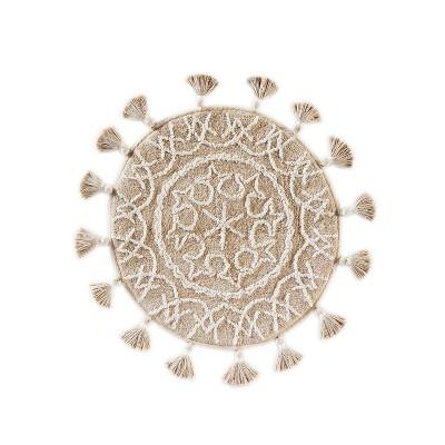 25  x 25  Medallia Round bath rugs and mats Natural - Saturday Knight Ltd.