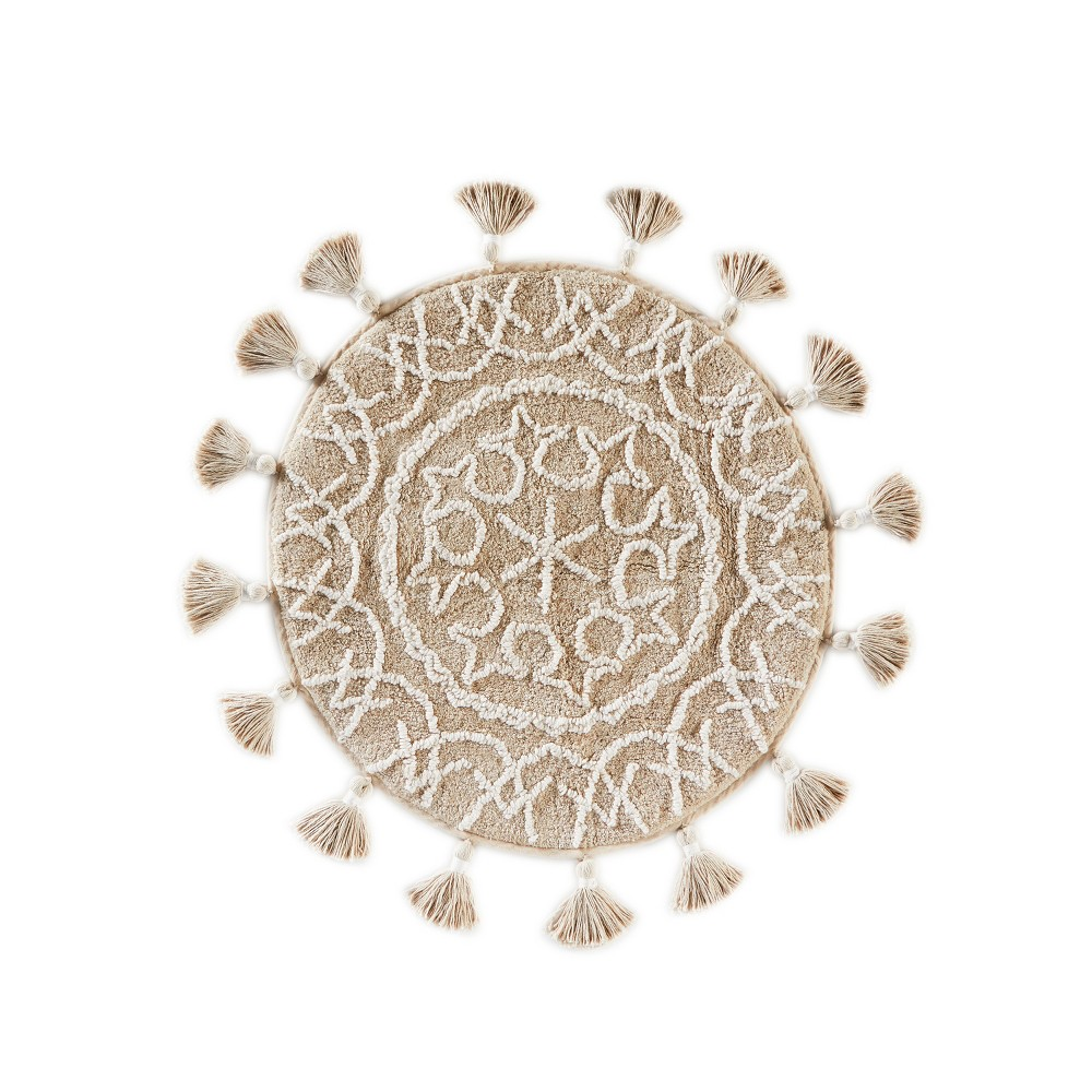 """Image of """"25"""""""" x 25"""""""" Medallia Round bath rugs and mats Natural - Saturday Knight Ltd., White"""""""