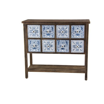 Farmhouse 8 Drawer Cabinet Brown/Blue - Olivia & May