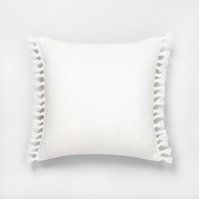"18"" x 18"" Wide Stripe Knotted Fringe Throw Pillow Sour Cream - Hearth & Hand™ with Magnolia"