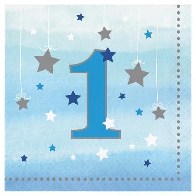 16ct One Little Star Boy 1st Birthday Napkins