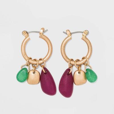 Semi Precious Worn Gold Hoop Earrings - Universal Thread™