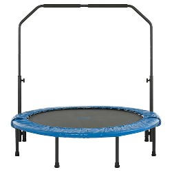 Upper Bounce 48 Inch Mini Foldable Rebounder Fitness Trampoline with Adjustable Handrail