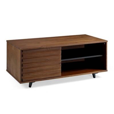 """44"""" Solid Wood Slat Door Storage Bench - Saracina Home"""