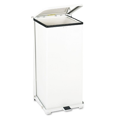 Rubbermaid Commercial Defenders Biohazard Step Can Square Steel 24gal White ST24EPLWH