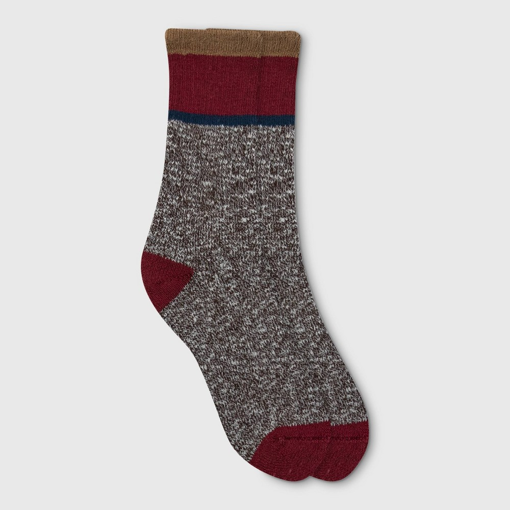 Image of Alaska Knits Women's Colorblock Wool Blend Crew Boot Socks - Burgundy 4-10, Women's, Size: Small, Red