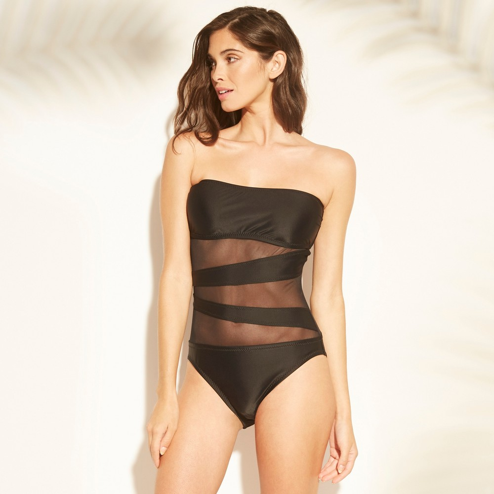 Women's Mesh Inset Bandeau One Piece Swimsuit - Shade & Shore Black L