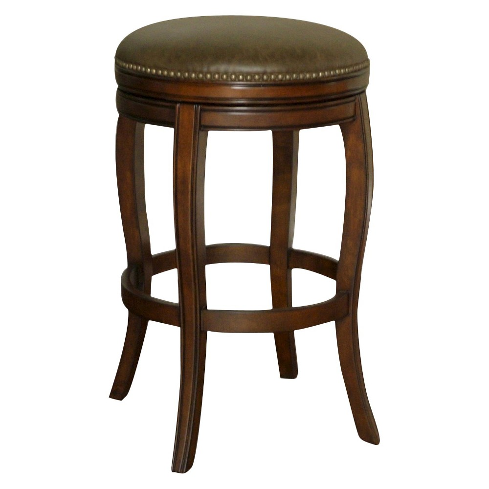 Wilmington Swivel Bonded Leather 34 Barstool Hardwood/Coco Brown - American Heritage Billiards, Navajo/Coco