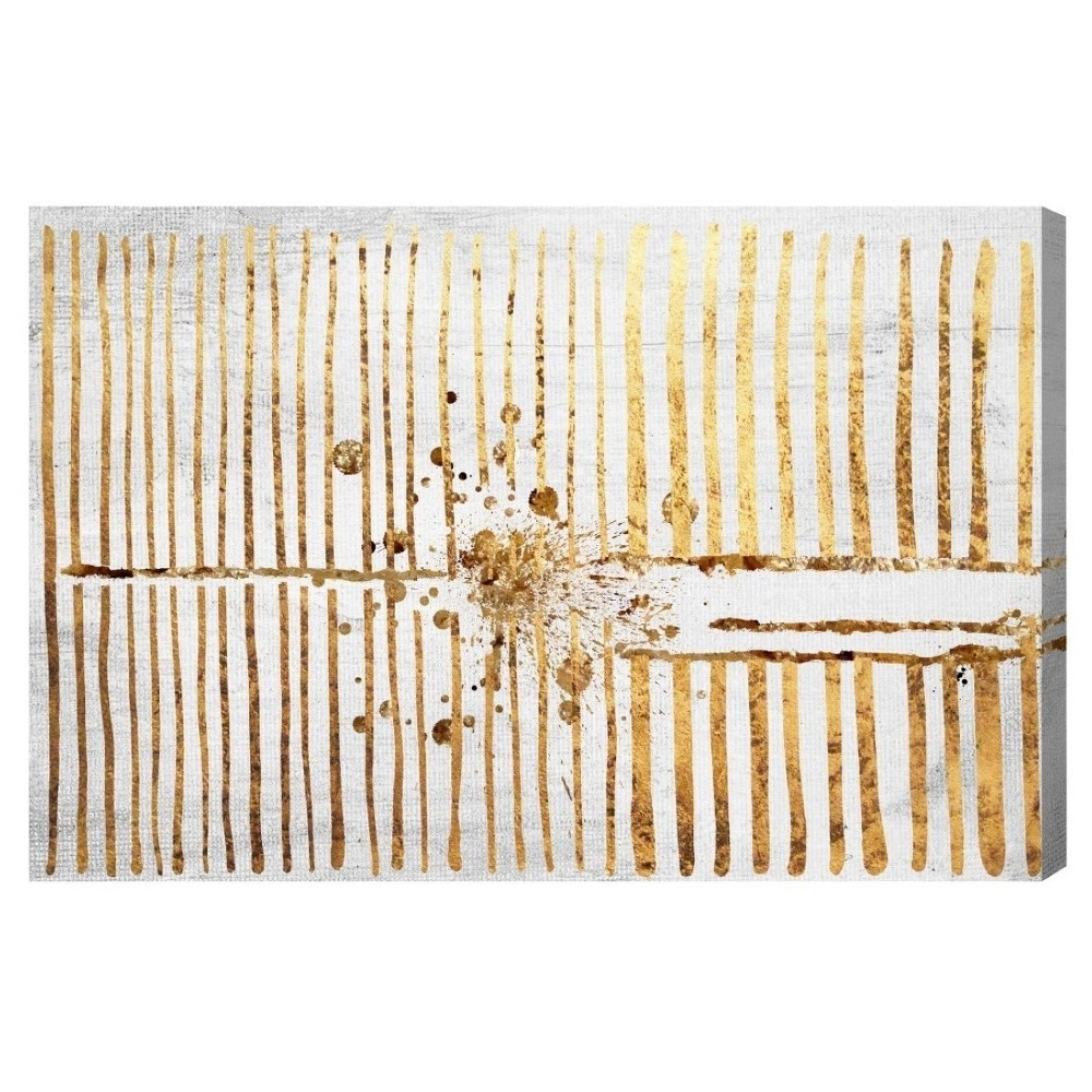 "Image of ""Oliver Gal Unframed Wall """"Love Force Field Gold"""" Canvas Art (24x16)"""