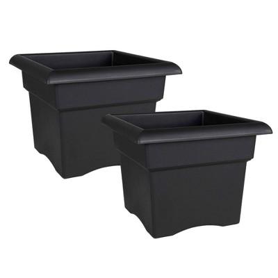 2pk Veranda Deck Box Square Planter Black - Bloem