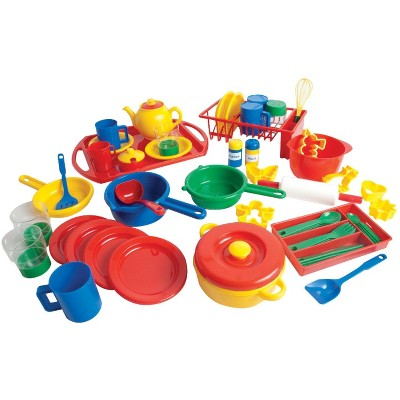 Dantoy Play Kitchen Dishes pk, 4 Settings, Assorted Colors, 55 pc