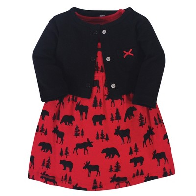Hudson Baby Infant and Toddler Girl Cotton Dress and Cardigan 2pc Set, Red Moose Bear