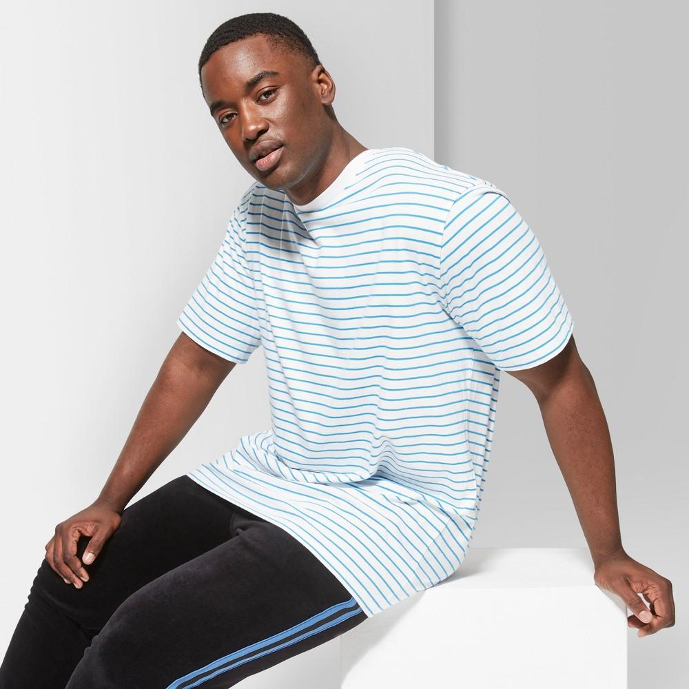 Men's Big & Tall Striped Regular Fit Short Sleeve Boxy T-Shirt - Original Use Brilliant Blue 2XBT
