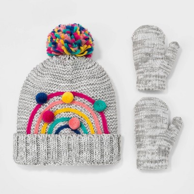 Toddler Girls' Rainbow Pom Beanie with Mittens - Cat & Jack™ Heather Gray 2T-5T