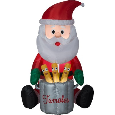 Gemmy Animated Christmas Airblown Inflatable Chef Santa w/Pop Up Tamales, 5.5 ft Tall, Multicolored