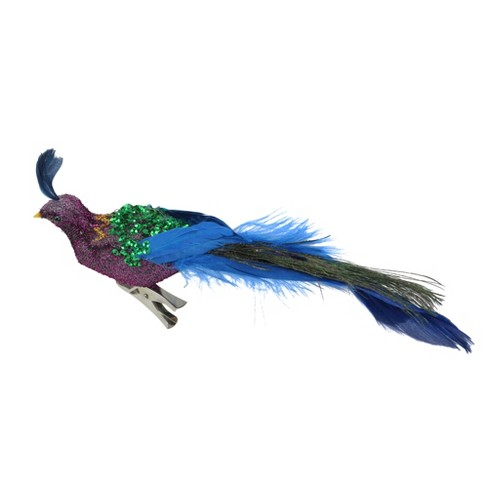 """Northlight 8"""" Purple and Blue Sequins Peacock Bird Clip On Christmas Ornament - image 1 of 3"""