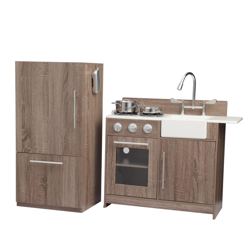 Teamson Kids Soho Big Play Kitchen, Dark Oak Grain&silver
