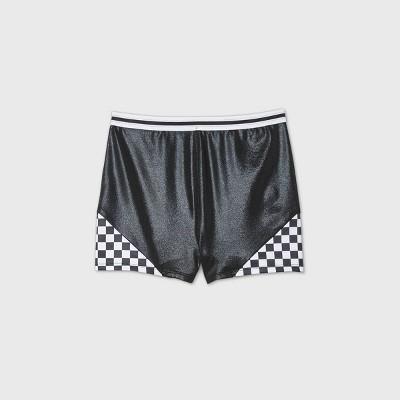 Girls' Checkered Gymnastics Shorts - More Than Magic™ Black