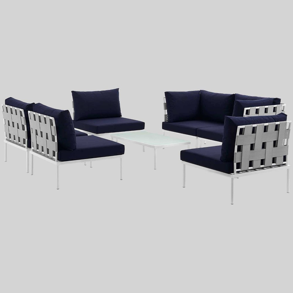 Harmony 7pc Aluminum Outdoor Patio Sectional Sofa Set - Navy (Blue) - Modway