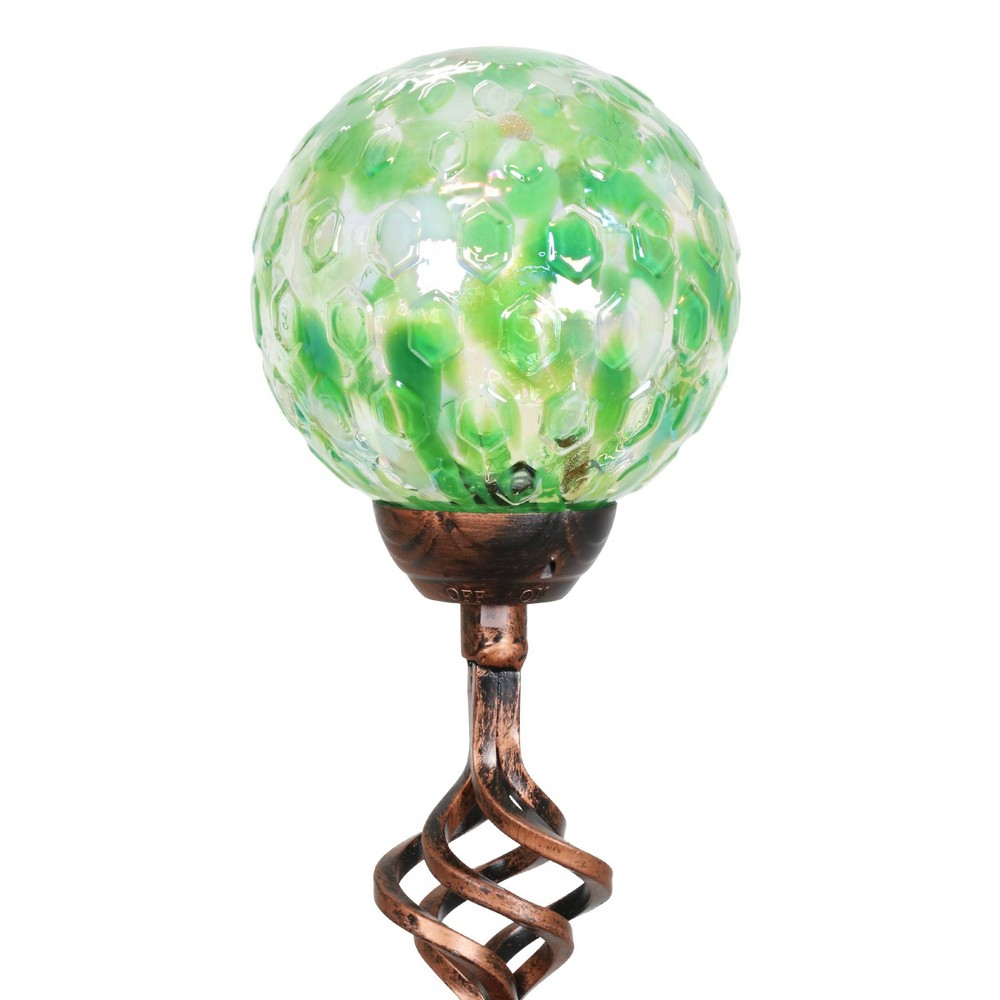 31 Solar Pearlized Glass Honeycomb Finial Resin Garden Stakes Green Exhart