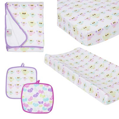 MiracleWare Fitted Sheets Nursery Set - Owls 4pc